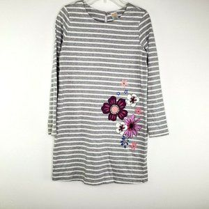 Gymboree  Gray White Stripe Dress with Flowers L